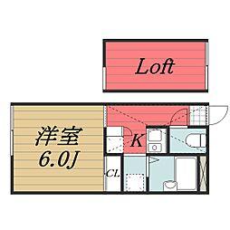 京成本線 公津の杜駅 徒歩20分の賃貸アパート 2階1Kの間取り