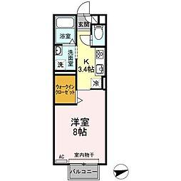 愛知県西尾市米津町雨堀の賃貸アパートの間取り