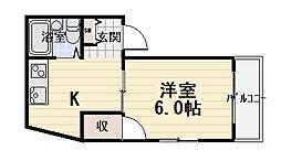 TOMOEマンション Cタイプ 2階1Kの間取り