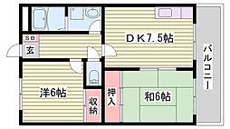 JR山陽新幹線 西明石駅 4.1kmの賃貸マンション 2階2DKの間取り