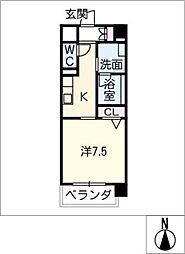 丸喜屋 4階1Kの間取り