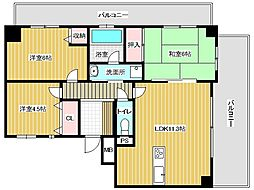 兵庫県明石市材木町の賃貸マンションの間取り