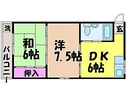 エミーる山越[2階]の間取り