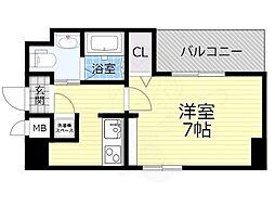 Osaka Metro今里筋線 蒲生四丁目駅 徒歩4分の賃貸マンション 7階1Kの間取り