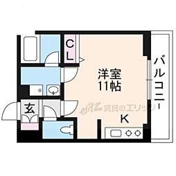 JR東海道・山陽本線 草津駅 徒歩5分の賃貸マンション 2階ワンルームの間取り