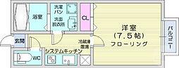 ルミエール黒松 2階1Kの間取り