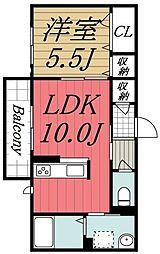 千葉県四街道市もねの里5丁目の賃貸アパートの間取り