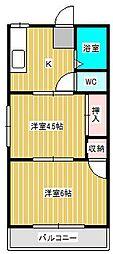 エクセラピエース新松戸 B[103号室]の間取り