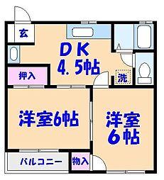 リバティープラザA〜D[A101号室]の間取り