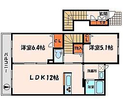 京阪本線 西三荘駅 徒歩11分の賃貸アパート 2階2LDKの間取り