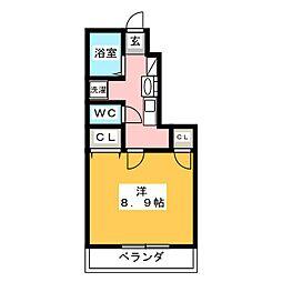フルーリー中撫川 B棟[1階]の間取り