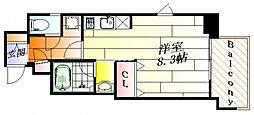 ファーストステージ江坂広芝町2 9階ワンルームの間取り