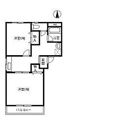 栃木県佐野市大橋町の賃貸アパートの間取り