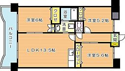 サンディエゴ永野VI[6階]の間取り