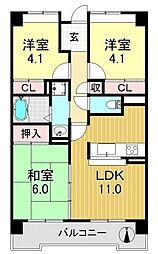 サニークレスト平野西脇[4O4号室号室]の間取り