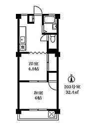 コーポラス広田[2階]の間取り