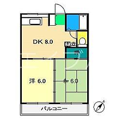 ビーンズフラット3[3階]の間取り