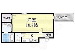 Fujipalace 桜 西今川1番館 2階1Kの間取り