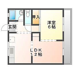 新山NA 1階1LDKの間取り