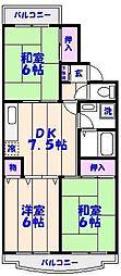 市川クローバーハイツ中台[101号室]の間取り