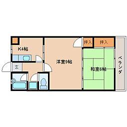 奈良県天理市田井庄町の賃貸マンションの間取り