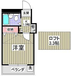 千葉県松戸市六高台8丁目の賃貸アパートの間取り