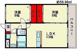 福岡県春日市天神山6丁目の賃貸マンションの間取り