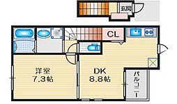 ラパンノアール 1階1DKの間取り