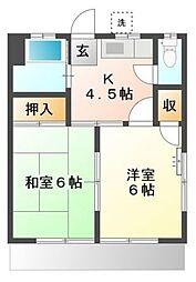 JR東海道本線 横浜駅 徒歩20分の賃貸アパート 1階2Kの間取り
