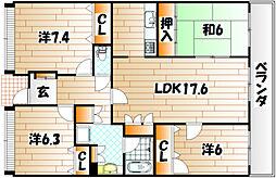 福岡県北九州市戸畑区土取町の賃貸マンションの間取り
