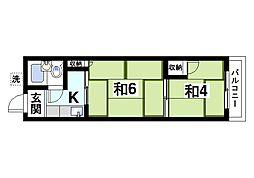 ニューコトブキマンション 3階2Kの間取り