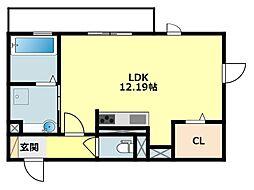 JR東海道本線 岡崎駅 徒歩24分の賃貸アパート 3階ワンルームの間取り
