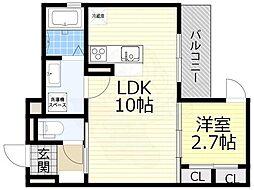 阪急宝塚本線 豊中駅 徒歩8分の賃貸アパート 2階1LDKの間取り
