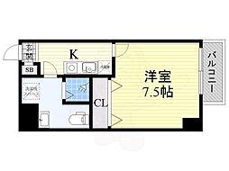 阪神なんば線 九条駅 徒歩4分の賃貸マンション 4階1Kの間取り