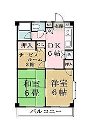 越谷レジデンシャルマンション[203号室]の間取り