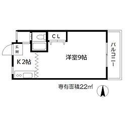松本マンション 4階1Kの間取り