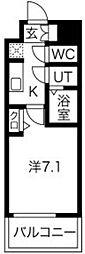プレサンス京町堀 6階1Kの間取り