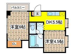 東京都府中市八幡町1丁目の賃貸マンションの間取り