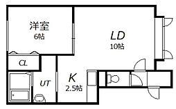 北海道旭川市宮下通26丁目の賃貸アパートの間取り