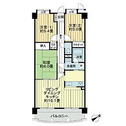 ライオンズマンション緑井[5階]の間取り