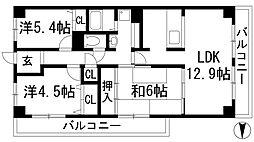 兵庫県宝塚市小林4丁目の賃貸マンションの間取り