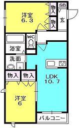 アンティーム桜[202号室]の間取り