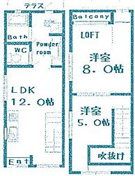 [テラスハウス] 大阪府大阪市此花区伝法4丁目 の賃貸【/】の間取り