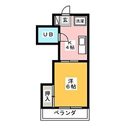 畑江ロイヤルハイツ[3階]の間取り