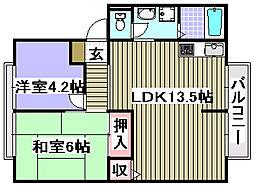 ウィンディアコスモスB棟[1階]の間取り