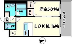Osaka Metro長堀鶴見緑地線 蒲生四丁目駅 徒歩3分の賃貸マンション 2階1LDKの間取り