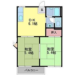 京都府京都市伏見区大和町の賃貸アパートの間取り