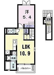 福岡県北九州市八幡西区東浜町の賃貸アパートの間取り