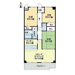 スカール喜多川B棟[3階]の間取り