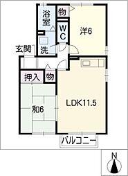 愛知県知多郡武豊町字池田2丁目の賃貸アパートの間取り